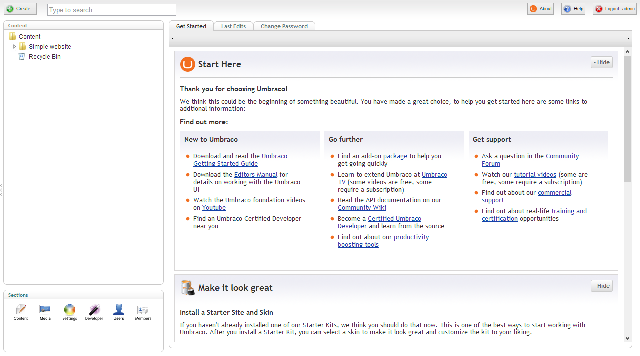 A vanilla Umbraco install complete with all the default dashboard stuff.