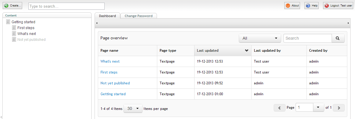 Dashboard page overview step 2