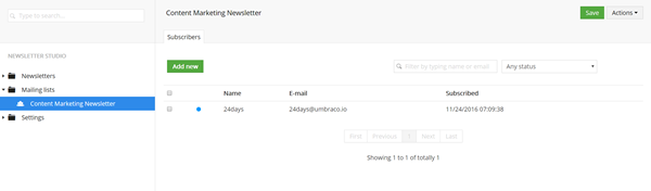 Newsletter Studio Mailing List Subscribers