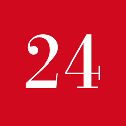 The 24 Days logo, i.e. the number 24 on a red background.